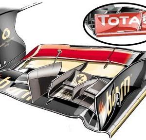 Лотус,E21.Новое переднее крыло.Гран-при Малайзии 2013 года.
