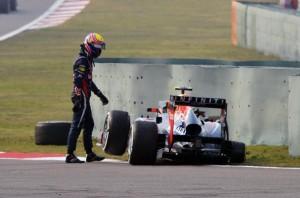 Марк Уеббер,без колеса,Гран-при Китай