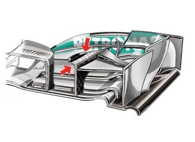 Мерседес W04, видоизменения на переднем крыле,перед Гран-при Китай