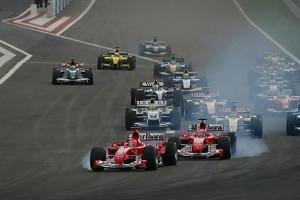 Михаэль Шумахер Феррари 2004 и Рубенс Барикелло Феррари 2004,Старт,Гран-при Бахрейн 2004