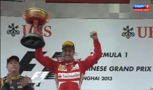 Вручение призов,Фернандо Алонсо,победитель Гран-при Китай 2013