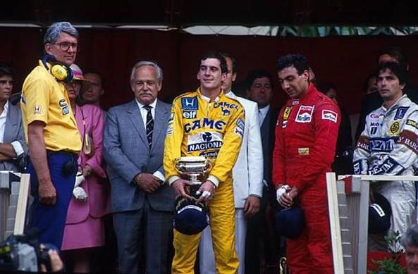 Айртон Сенна победитель Гран-при Монако 1987 год,Петр Варр, Нельсон Пике,Микель Альборетто