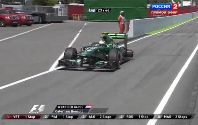Гран При Испании,Гидо ван дер Гарде без одного колеса едет по питлейну