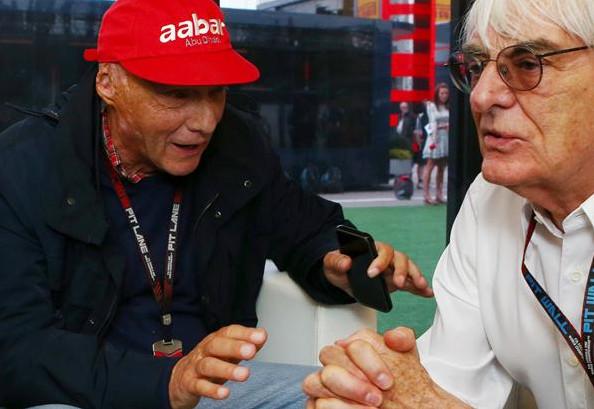 Ники Лауда (Мерседес) и Берни Экклстоун (Формула 1)