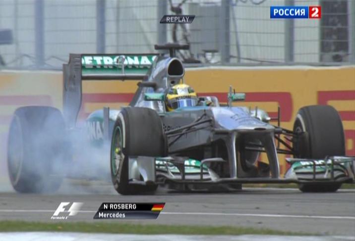 Нико Росберг (Мерседес) блокирует колёса на Гран-при Канады