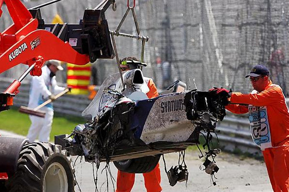 Разрушенный болид Роберта Кубицы, после Гран-при Канады