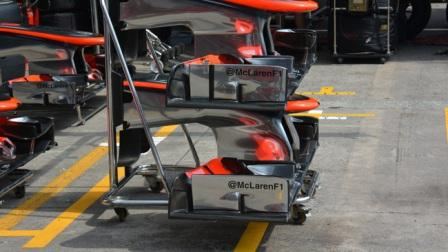 Два вида передних спойлеров команды Макларен на Гран-при Бразилии 2013