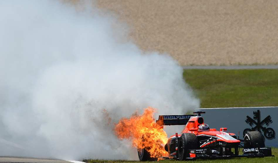 Зогоревшийся болид команды Маруся на Гран-при Германии