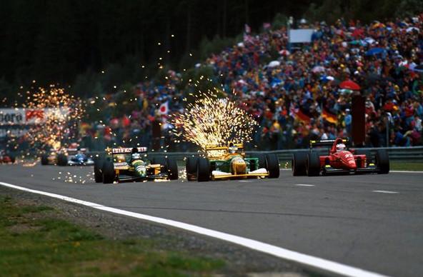 Михаэль Шумахер и Микка Хакиинен, Гран-При Бельгии 1992