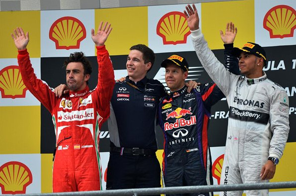 Подиум Гран-при Бельгии 2013, Алонсо, Феттель, Хемильтон