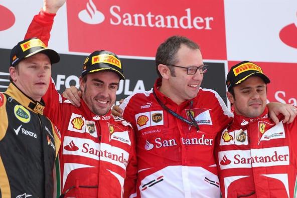 Кими Райкконен,Фернандо Алонсо,Стефано Доменикали и Филипе Масса, Гран-при Испании 2013