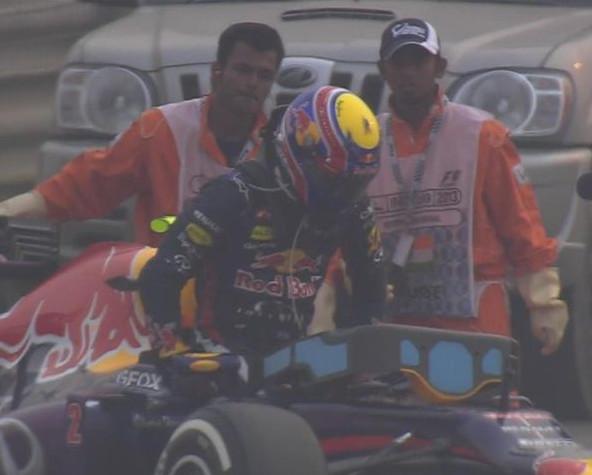 Марк Уэббер сходит с трассы, на Гран-при Индии 2013
