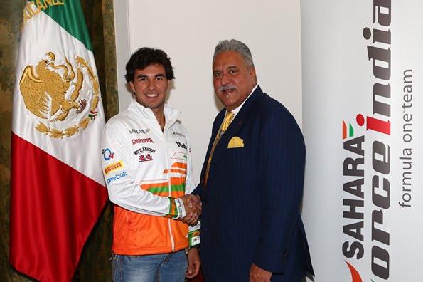 Серехео Перес и Виджей Малья, после подписания контракта с командой Форс Индия