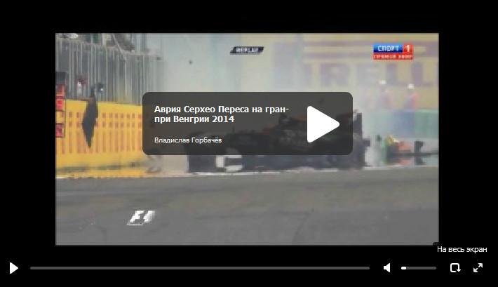 Авария Серхео Переса на гран-при Венгрии 2014