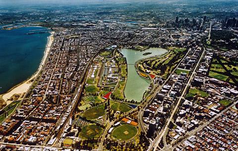 Альберт Парк, вид с высоты птичьего полёта