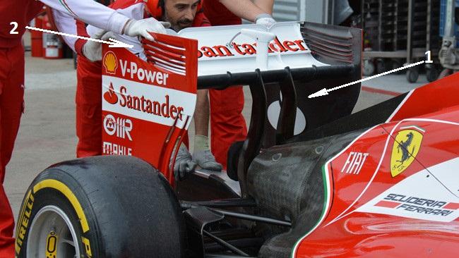 Феррари F14Т, заднее крыло с двумя пилонами для Канады