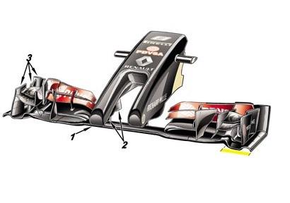 Обновление болида Лотус E22. Необычный нос и пересмотренное переднее крыло