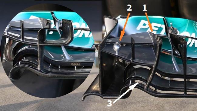 Мерседес W05, новые аэродинамические элементы переднего крыла