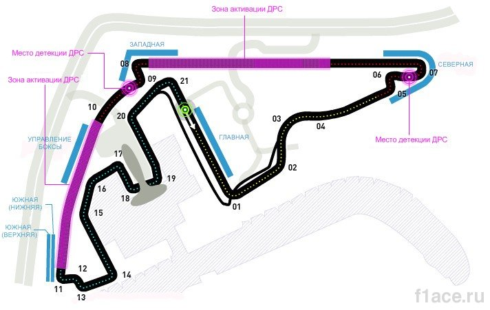 Схема трассы Яс-Марина,Гран-при Абу-Даби