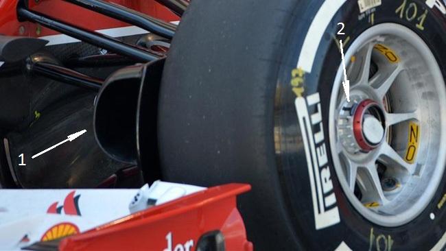 Феррари F14Т воздухозаборники на передней оси