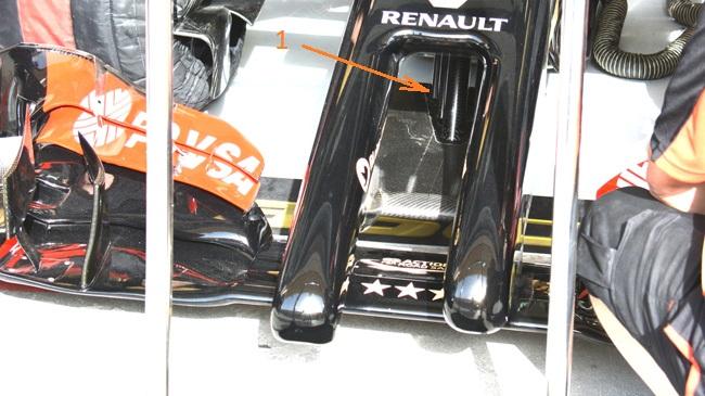 Лотус E22, дополнение на носу на гран-при Бахрэйн