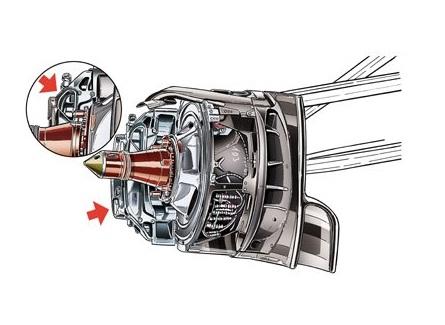 Обновления болида Заубер C33. Передний тормозной диск Заубер.Заубер, детали передней тормозной системы
