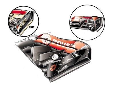Лотус E22, новые элементы переднего крыла в Венгрии