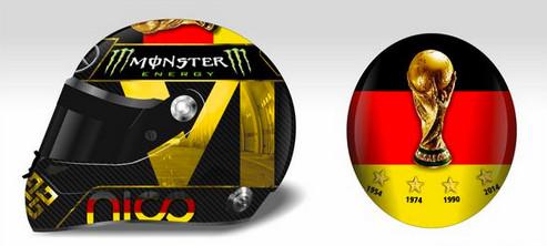Шлем Нико Росберга,посвящённый Германии на ЧМ по футболу 2014
