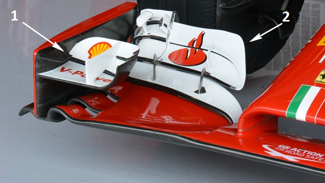 Феррари F14Т переднее антикрыло на болиде Алонсо