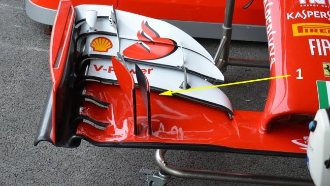 Феррари F14Т переднее антикрыло на болиде Райкконена без верхних закрылок