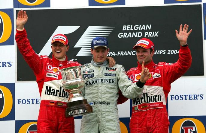 Райкконен становится лидером гонки после 12 кругов и остаётся им до конца, Спа-Франкошам, 2004 год