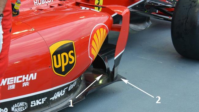 Феррари F14Т двойные изогнутые лопатки у боковых понтонов