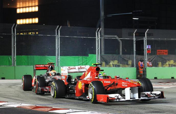 Хэмильтон и Масса, опять столкновение,Сингапур,Марина Бей,2011