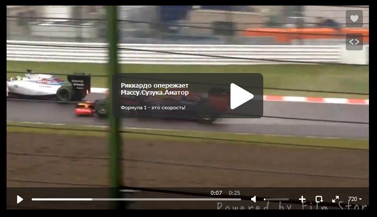 Д.Риккардо обгоняет Ф.Массу на гран-при Японии 2014