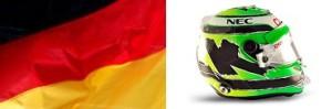 Нико Хюлькенберг (флаг Германии и шлем)
