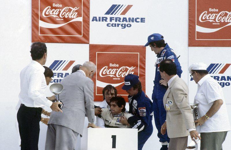 Пике побеждает, падает в обморок и его дисквалифицируют, Рио-де-Жанейро, 1982 год