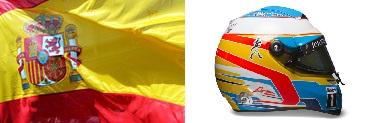 Алонсо,шлем,флаг