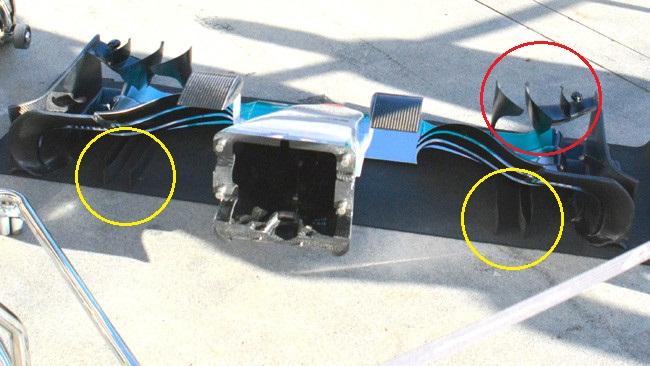 Обновления болида команды Мерседес W06 в Австралии.Мерседес W06, Переднее анти-крыло, Австралия.