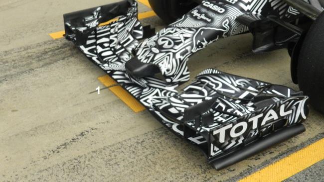 Обновления болида Ред Булл RB11 на тестах.Ред Булл RB11, жало.