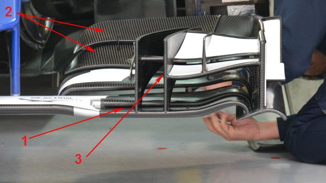 Обновления болида Заубер C34 в Китае.Заубер С34, Модификация переднего антикрыла, Китай 2015.