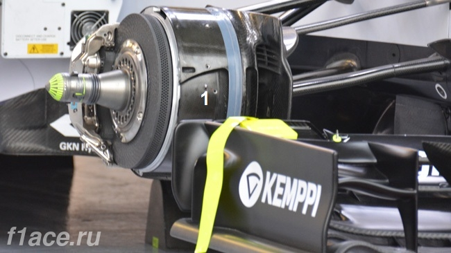 Обновления болида Уильямс FW37 в Канаде.Тормозные корзины.