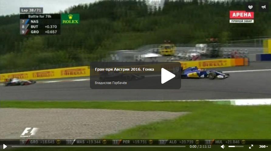 Смотреть запись гонки гран-при Австрии 2016